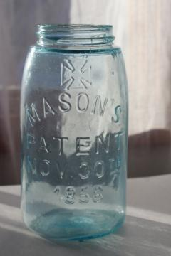 antique blue green glass Mason jar, embossed 1858 Mason's cross & 1867 patent date