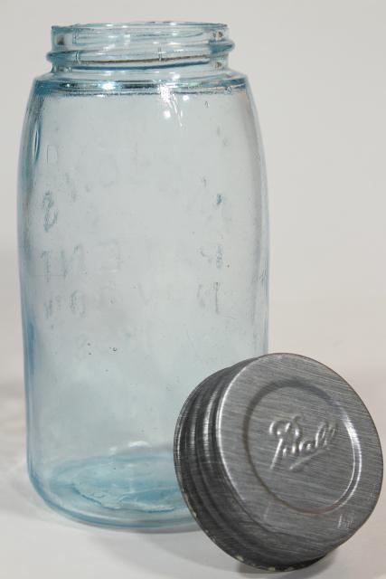 antique blue green glass Mason jar, old zinc lid 2 qt fruit