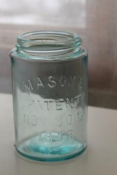 antique blue green glass mason jar, old pint size fruit jar w/ 1858 Masons patent date