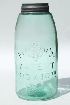 antique blue green glass mason jar, old zinc lid 2 qt fruit jar w/ 1858 patent date
