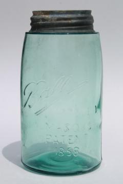 antique blue green glass mason jar, old zinc lid quart fruit jar w/ 1858 patent date