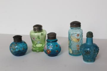 antique blue & green glass shakers, shabby chic birds & flowers hand painted glass