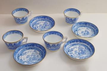 antique blue & white china tea cups & deep saucers marked Mintons, willow pattern chinoiserie