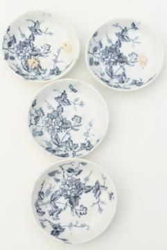 antique blue & white transferware china, 1800s vintage butter pat plates w/ wildflowers