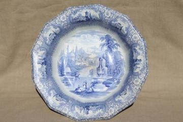 antique blue & white transferware china wash bowl, Medina English Staffordshire basin