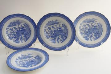 antique blue willow ware china soup bowl plates, Wilkinson Ye Olde Hall Potteries