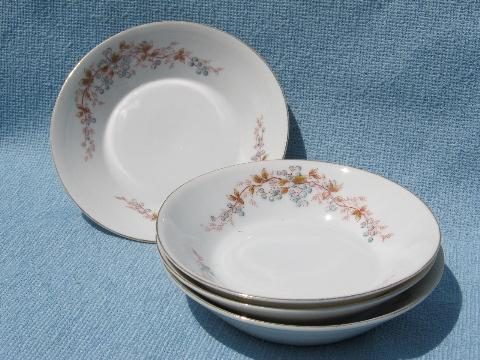 antique blueberries transferware china fruit bowls, blueberry print