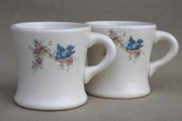 antique bluebird china cups, blue birds heavy white ironstone mugs, vintage Homer Laughlin?