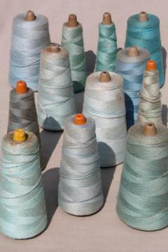 antique bottle blue aqua shades primitive grubby old spools of vintage cotton cord thread