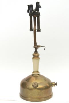 antique brass Sunshine of the Night Coleman gas lamp, early 1900s vintage lantern light
