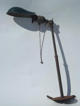 antique brass adjustable work light w/ helmet shade, O C White vintage