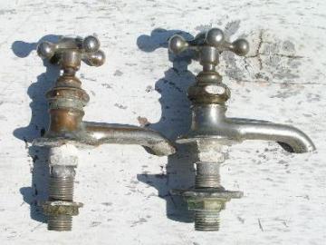 antique brass and porcelain faucet taps