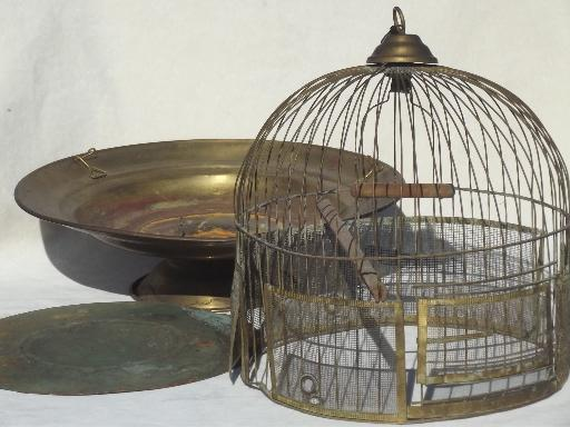 Antique Brass Beehive Birdcage W Table Stand Victorian