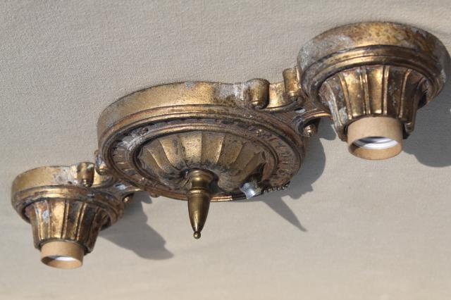 Antique Brass Cast Metal Ceiling Light Flush Mount