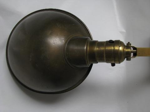 antique brass clamp-on desk work or bed light w/ helmet shade & 1907 patent