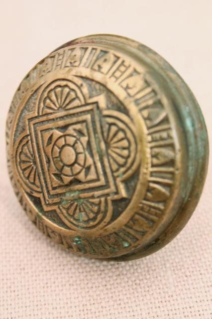 antique brass door knob, ornate Eastlake vintage door hardware w/ original patina