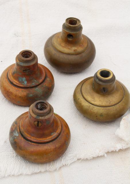 Antique Brass Door Knobs, Original Brass Patina Doorknobs Vintage Hardware  Lot