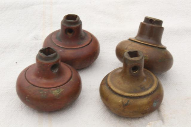 antique brass door knobs, original brass patina doorknobs vintage hardware lot