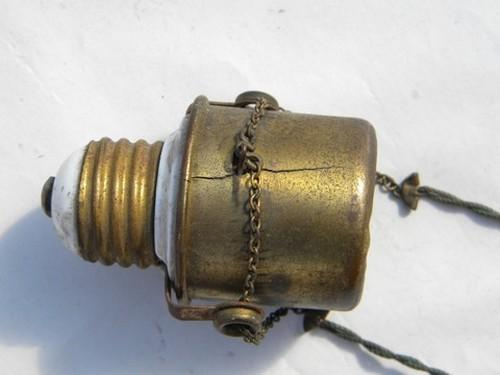 antique brass early dimmer socket for early electric lighting, 1908 patent
