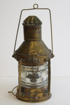 antique brass lantern from Lake Michigan buoy, oil lamp nautical navigation signal light