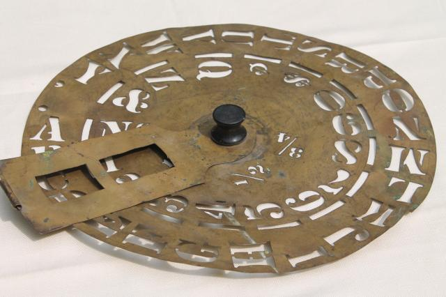 antique brass lettering / numbering clock wheel stencil, sign