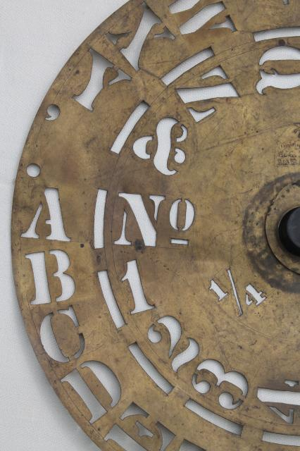 antique brass lettering / numbering clock wheel stencil, sign letter maker w/ 1860s patent dates