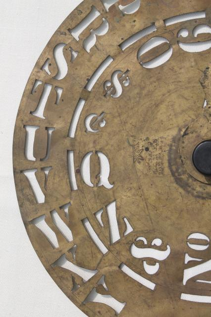 antique brass lettering numbering clock wheel stencil sign letter maker w 1860s patent dates