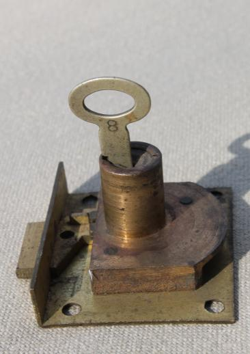 Antique Brass Lock Skeleton Key Vintage Half Mortise Hardware For Drawer Or Door