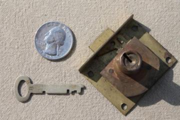 antique brass lock & skeleton key,  vintage half mortise lock hardware for drawer or door