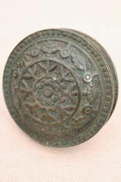 antique brass or bronze door knob, original patina vintage door hardware