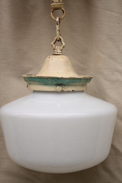 antique brass pendant light fixture, vintage lighting w/ original old paint & milk glass shade