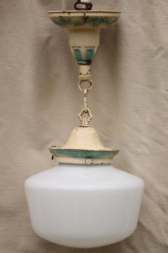 antique brass pendant light fixture, vintage lighting w/ original old paint & milk glass shade