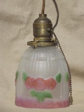 antique brass pendant light w/ painted puffy glass lamp shade, pull chain switch