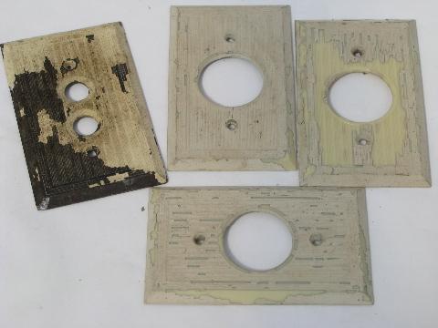 Antique Brass Push Button Light Switch Plates Vintage Electrical Lot