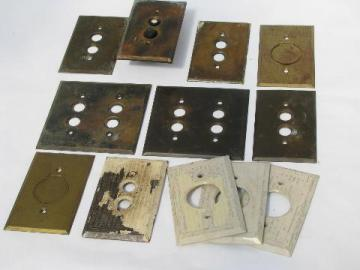 antique brass push-button light switch plates, vintage electrical lot