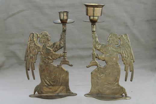 antique brass tall candlesticks w/ angels, vintage angel ...
