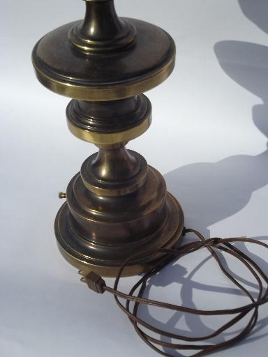 antique brass vintage Stiffel label table lamp, working 3-way switch