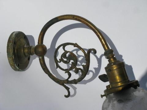 Early Electric Wall Sconces : antique brass wall sconce early electric socket w/1890s patent&glass shade