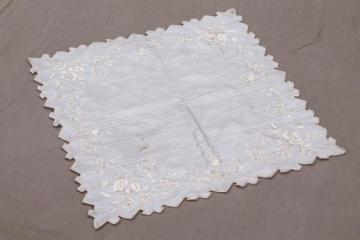 antique bride's hanky, embroidered ivory silk handkerchief vintage 1920s or 30s