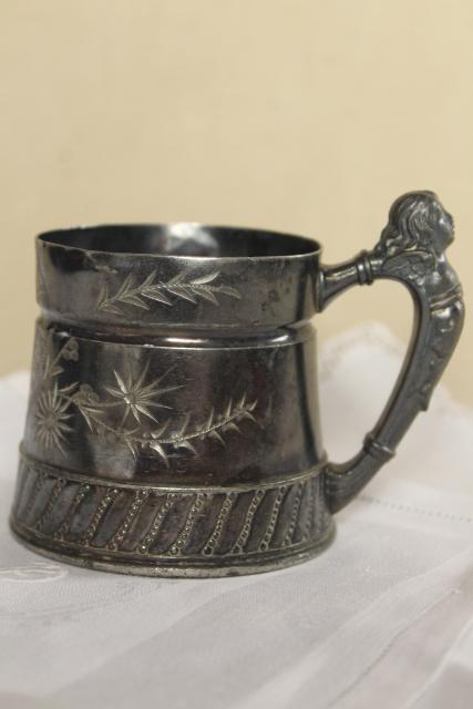 antique bright cut silver plate baby cup w/ figural handle, Victorian vintage