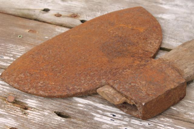 antique broad ax forged iron hewing ax  primitive farm or rustic cabin  wood chopping tool