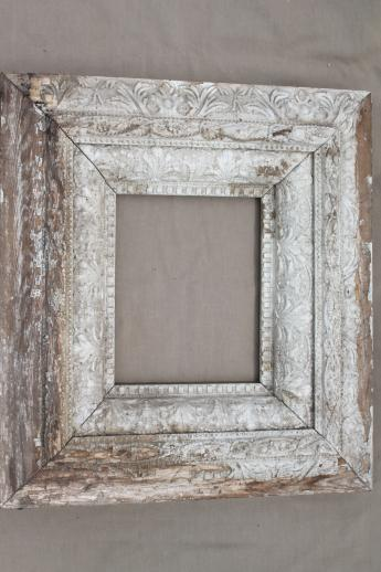antique brocante picture frames, pair of ornate old wood frames w ...