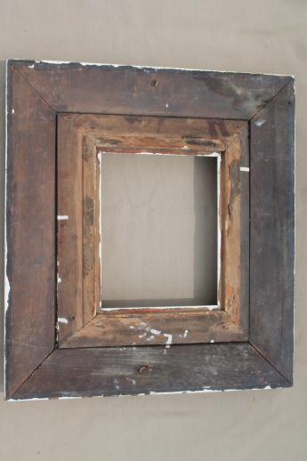 antique brocante picture frames pair of ornate old wood frames w shabby white paint - Wooden Picture Frames To Paint