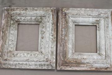 antique brocante picture frames pair of ornate old wood frames w shabby white paint