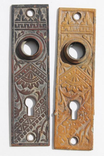 Antique Bronze Door Escutcheon Plates Vintage Door Knob Hardware
