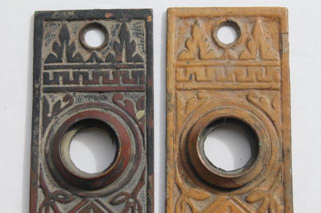 Antique Bronze Door Escutcheon Plates, Vintage Door Knob Hardware For  Skeleton Keys