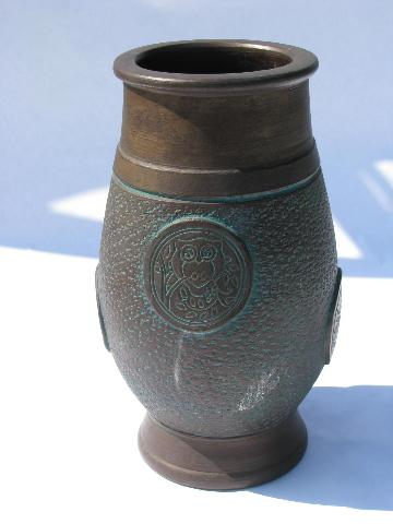 Antique Bronze Matte Glaze Pottery Large Vase W Oriental