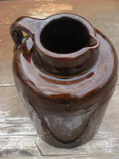 Antique Brown Glaze Stoneware Pottery Pitcher Old Syrup