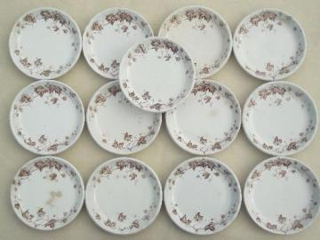antique brown transferware butter pat plates, English Staffordshire china