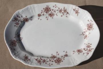 antique brown transferware china platter or tray, English ironstone vintage 1900